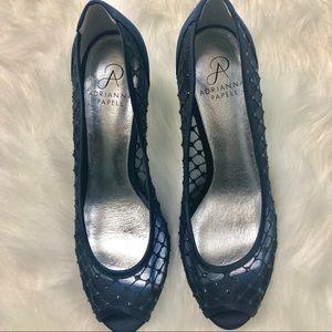 Adrianna Papell Navy Mesh Peep Toe Shoe